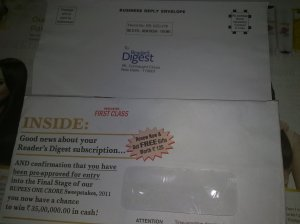 Cover letter of Reader Digest Fake Prize